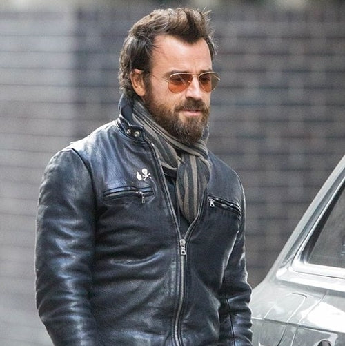 Justin Theroux wearing a leather jacket.