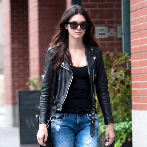 Kendall Jenner in a leather jacket