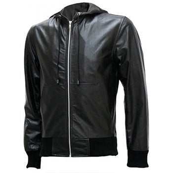 Men's Black Bomber Leather Jacket with Hoodie - Afton
