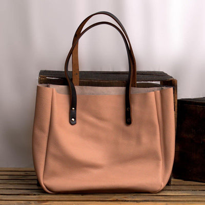 MONT5 Kel Personalized Carryall Pink Leather Tote - Leather Jacket Shop