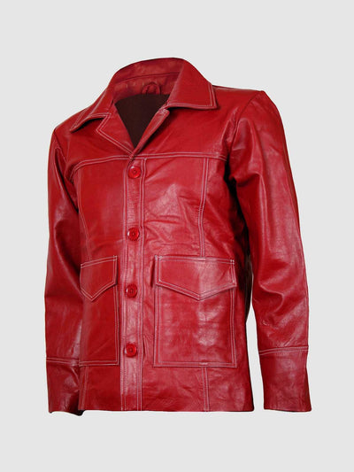 Trim FC Fight Club Red Biker Leather Jacket - Leather Jacket Shop