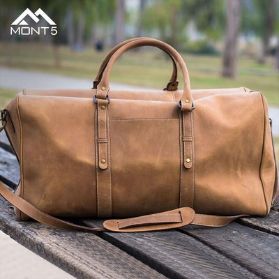 MONT5 Chitral Tan Leather Carry On Luggage Duffel Bag - Leather Jacket Shop