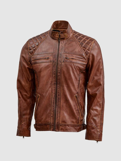 Classic Tan Brown Waxed Leather Jacket - Leather Jacket Shop