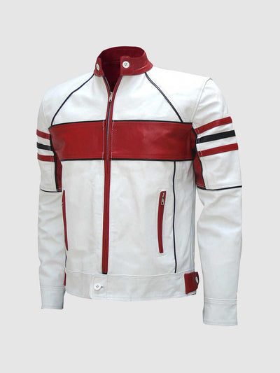Classy Red & White Leather Biker Jacket Men - Leather Jacket Shop