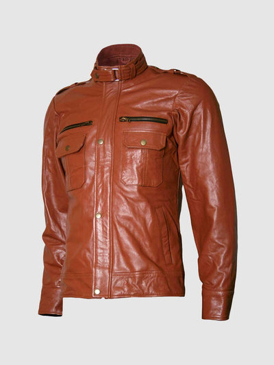 Designers Classic Men's Tan Biker Leather Jacket - Leather Jacket Shop