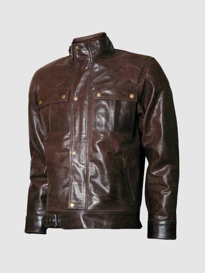 Classic Distressed Men's Brown Leather Motorcycle Jacket - Leather Jacket Shop