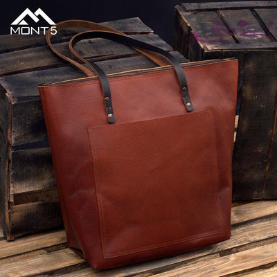 MONT5 Gulmit Everyday Brown Tote Bag With Zipper - Leather Jacket Shop