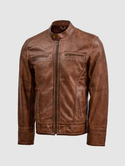 Lightweight Men's Brown Leather Waxed Jacket - Leather Jacket Shop