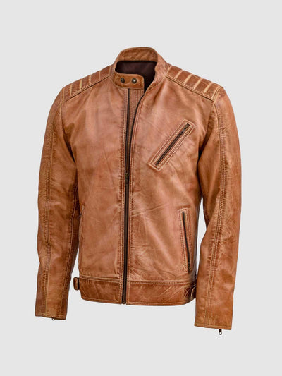 Men's Distressed Leather Waxed Jacket - Leather Jacket Shop