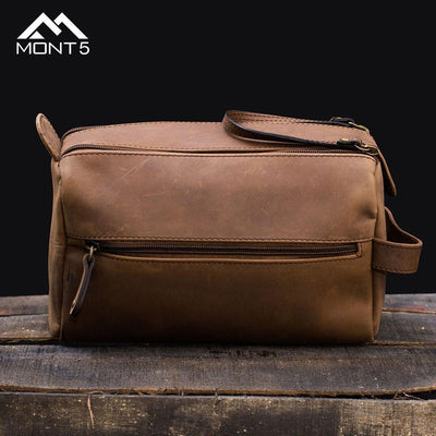 MONT5 Bagrot Vintage Groomsmen Leather Toiletry Bag - Leather Jacket Shop