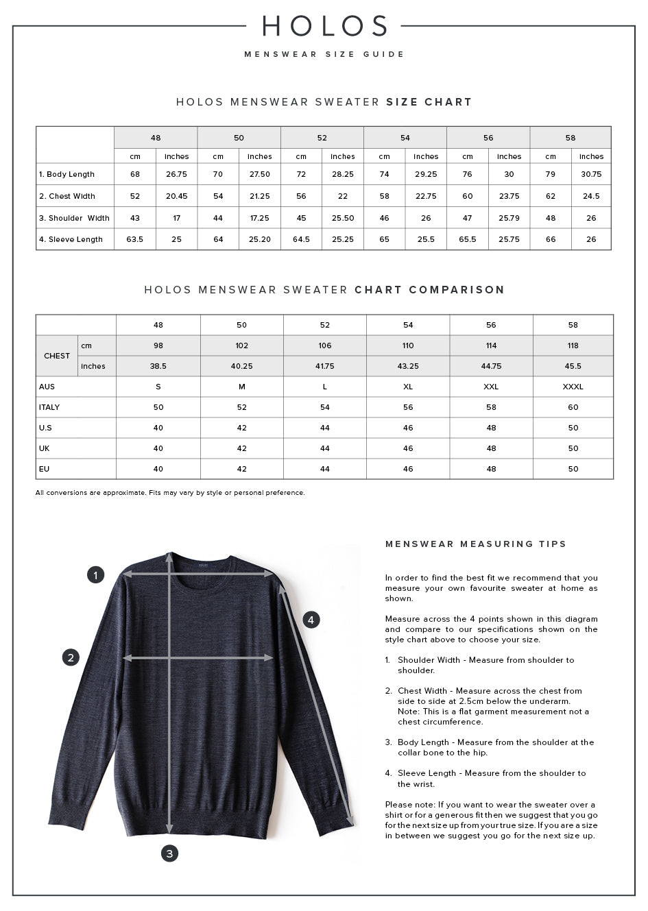 HOLOS Men's Sweater Size Guide