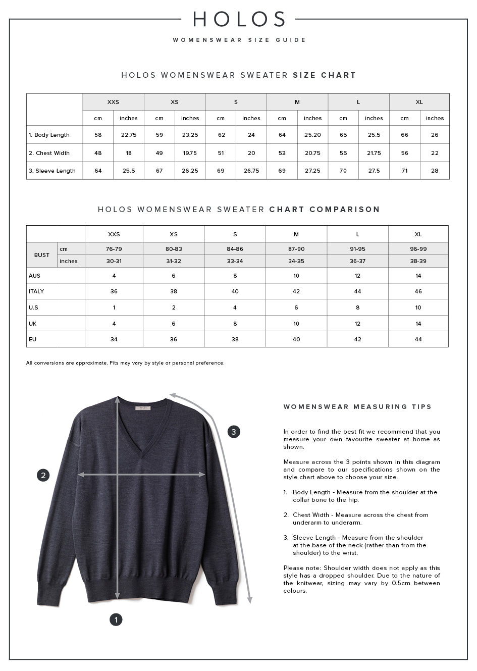 HOLOS Women's Sweater Size Guide