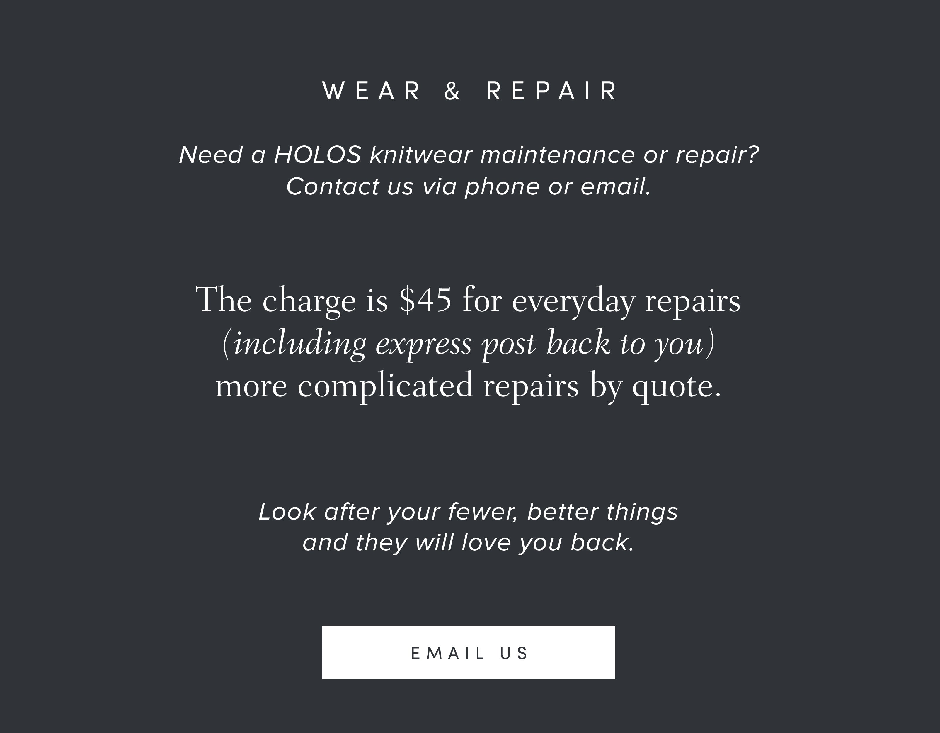 HOLOS knitwear repair message