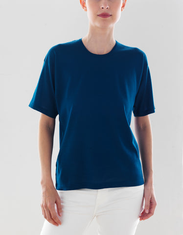 Luxo Knit T Round Neck - Deep Water Blue