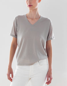 Luxo Knit T V-Neck - Flax