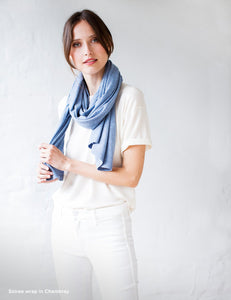 Australian Superfine Merino Wrap Travel Size - Chambray