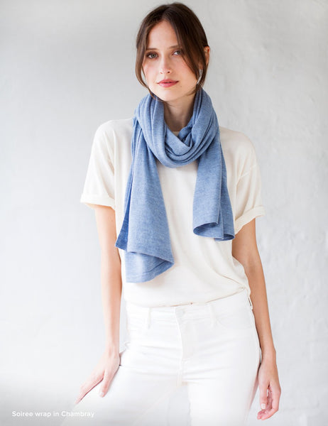 Australian Superfine Merino Wrap Soiree Size - Chambray