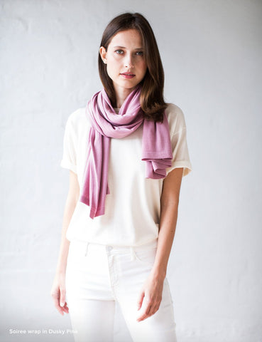 Australian Superfine Merino Wrap Soiree Size - Dusty Pink