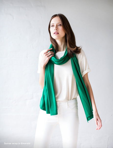 Australian Superfine Merino Wrap Soiree Size - Emerald