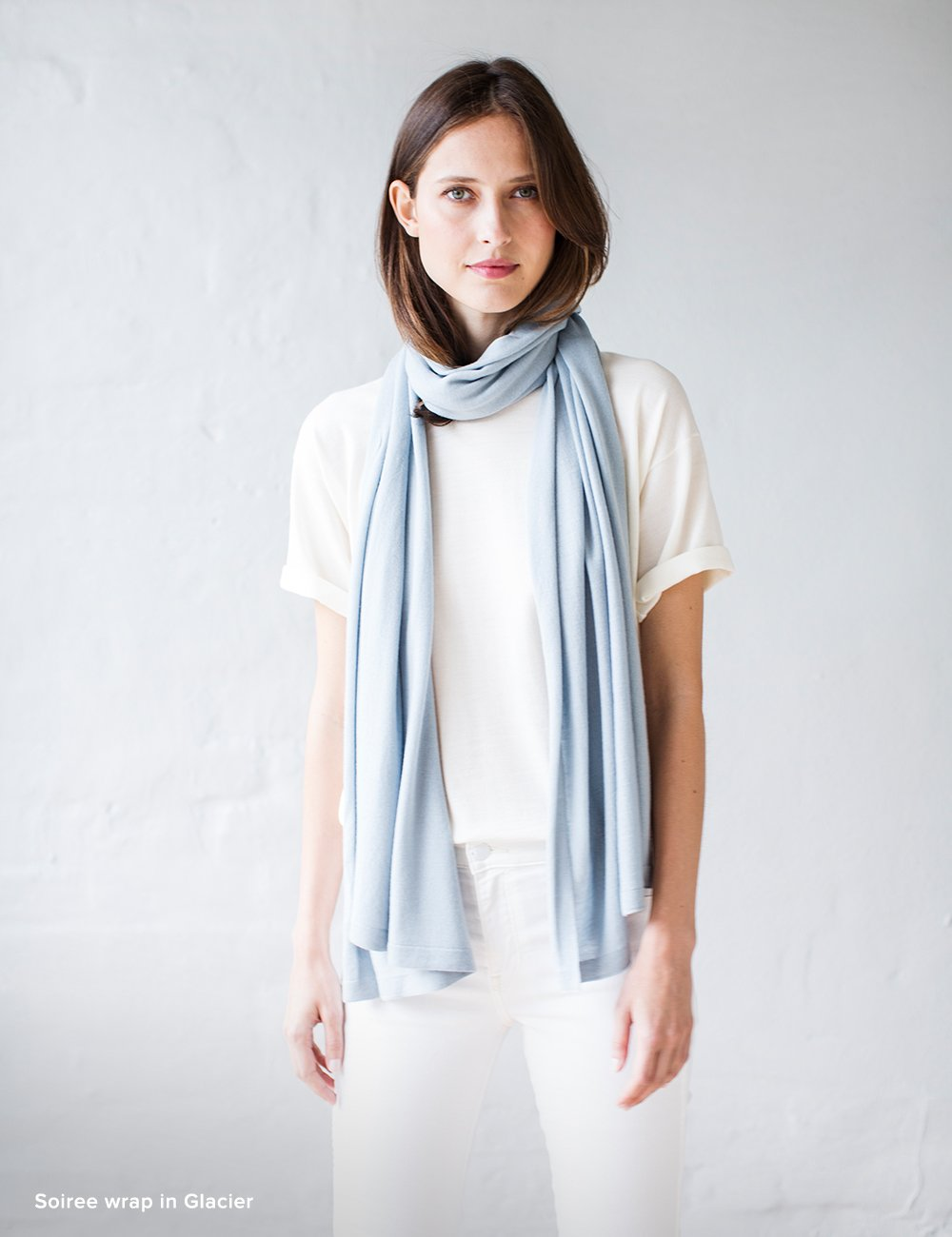Australian Superfine Merino Wrap Travel Size - Glacier