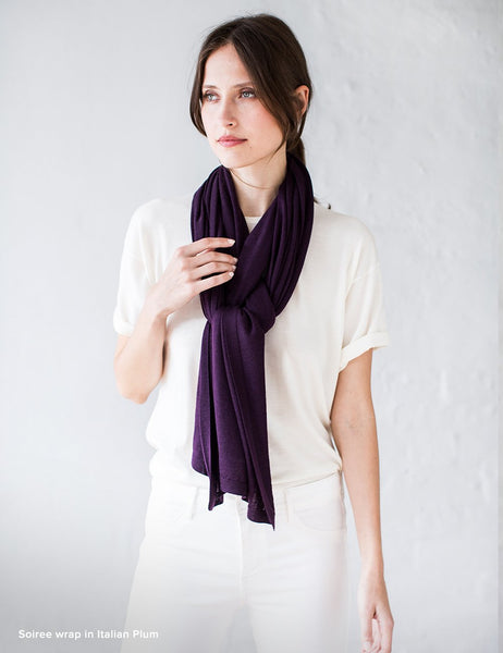 Australian Superfine Merino Wrap Travel Size - Italian Plum