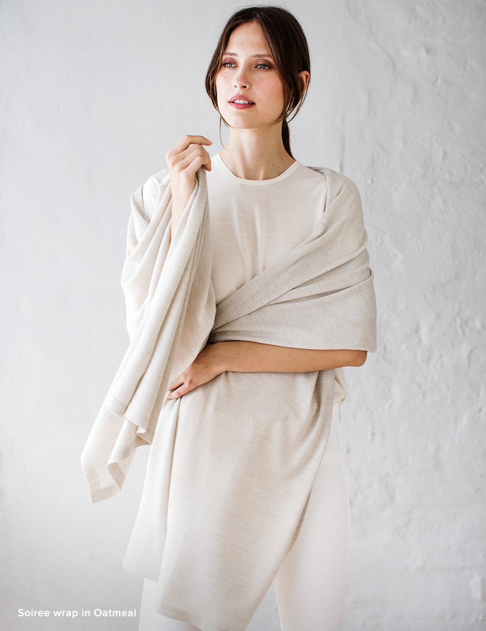 Australian Superfine Merino Wrap Travel Size - Oatmeal
