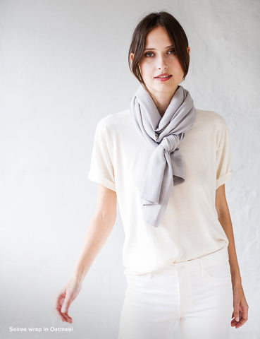 Australian Superfine Merino Wrap Travel Size - Oyster