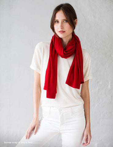 Australian Superfine Merino Wrap Soiree Size - Sepia Red
