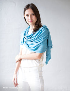 Australian Superfine Merino Wrap Soiree Size - Sky Blue