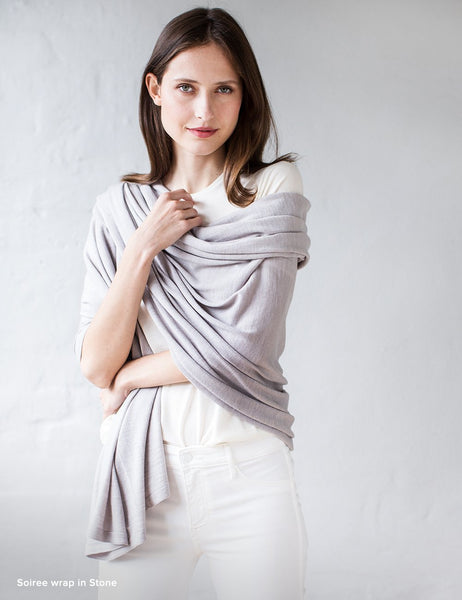 Australian Superfine Merino Wrap Travel Size - Stone