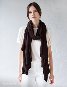 Australian Superfine Merino Wrap Travel Size - Chocolate