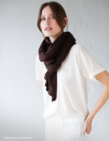 Australian Superfine Merino Wrap Soiree Size - Chocolate