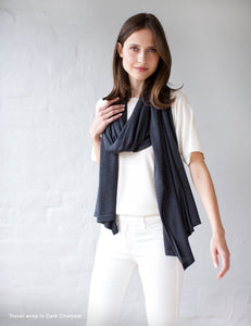 Australian Superfine Merino Wrap Travel Size - Dark Charcoal