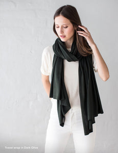 Australian Superfine Merino Wrap Travel Size - Dark Olive