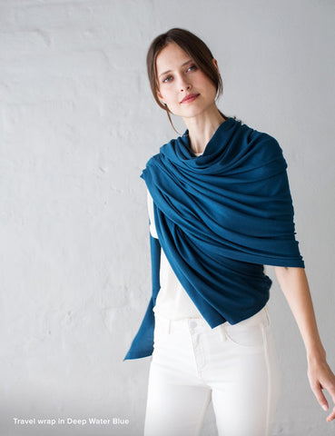 Australian Superfine Merino Wrap Travel Size - Deep Water Blue