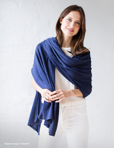 Australian Superfine Merino Wrap Soiree Size - Denim