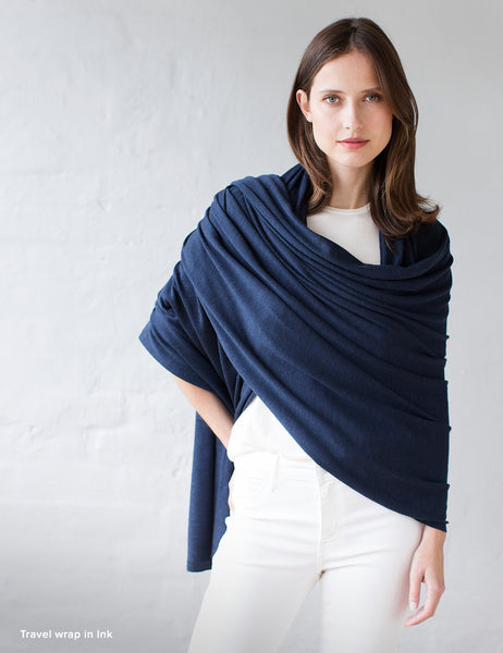 Australian Superfine Merino Wrap Soiree Size - Ink