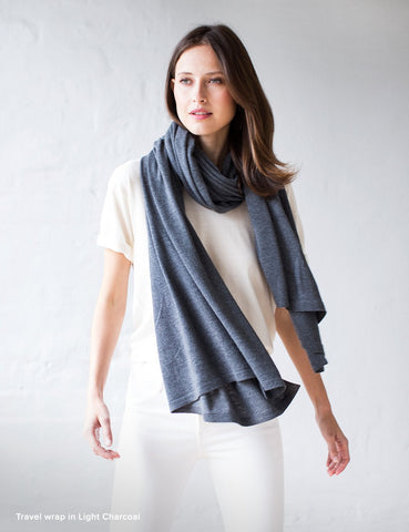 Australian Superfine Merino Wrap Soiree Size - Light Charcoal