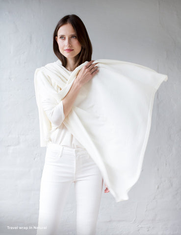 Australian Superfine Merino Wrap Travel Size - Natural