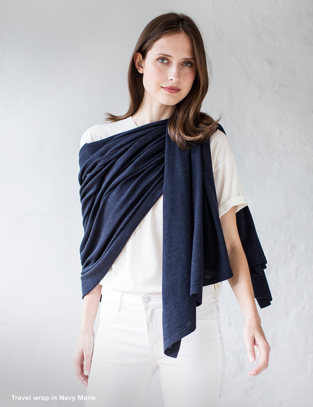 Australian Superfine Merino Wrap Travel Size - Navy Marle