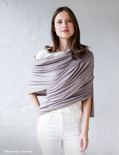 Australian Superfine Merino Wrap Travel Size - Nutmeg