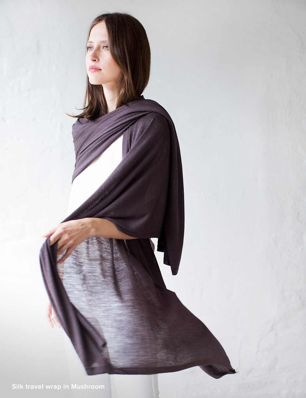 Australian Superfine Merino Wrap Travel Size - Silk Mushroom