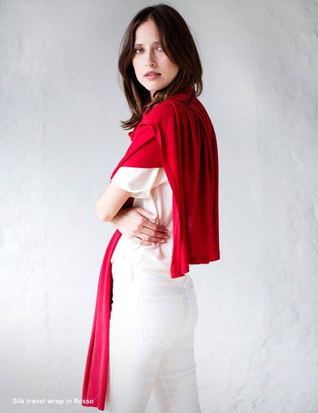 Australian Superfine Merino Wrap Travel Size - Silk Rosso