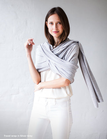 Australian Superfine Merino Wrap Travel Size - Silver Grey