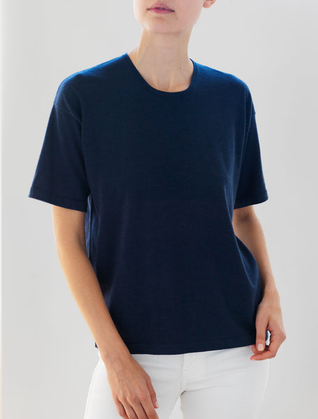 Luxo Knit T Round Neck - Ink