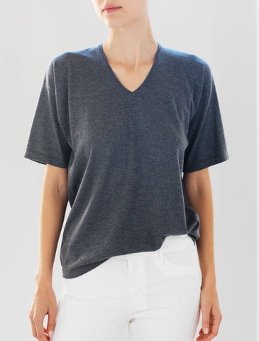 Luxo Knit T V-Neck - Light Charcoal