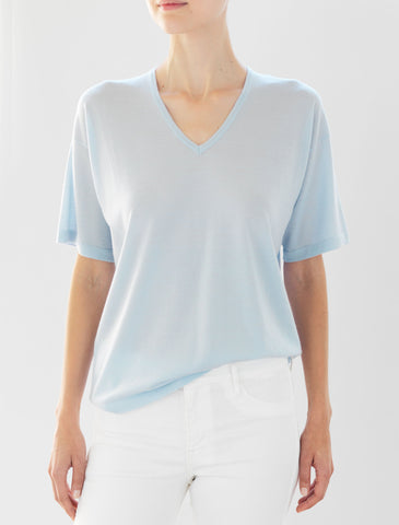 Luxo Knit T V-Neck - Pale Blue