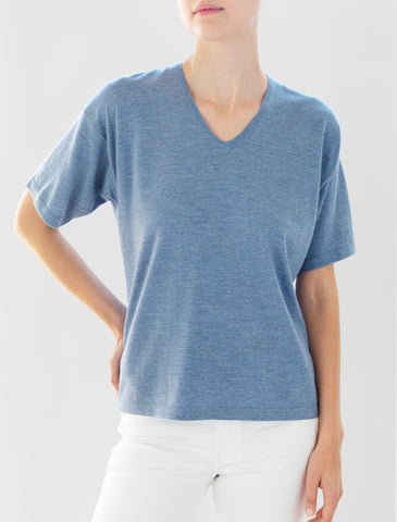 Luxo Knit T V-Neck - Chambray