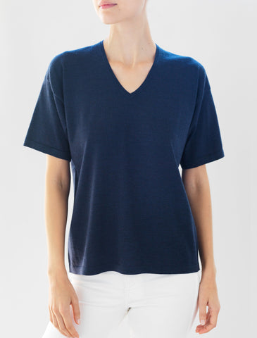 Luxo Knit T V-Neck - Ink