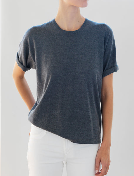 Luxo Knit T Round Neck - Light Charcoal